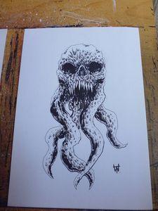 Demon Tentacle Skull Art