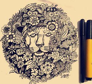 Creative doodle-lion king