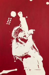 Axl Rose on stage acrylic painting.