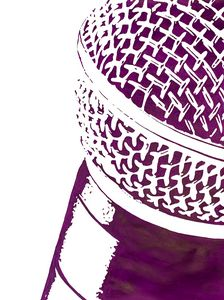 """""""Microphone"""" in purple and white."""