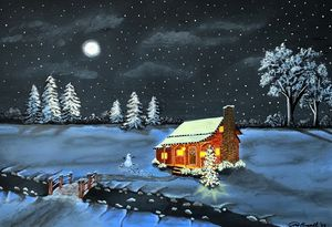 Christmas Cabin - GordRussellArt