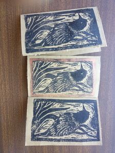 Message cards 10 nos. Bird linoprint