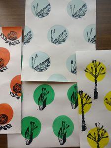 Handmade papers handprinted 6 nos.