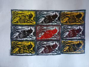 "Original linocut print 10' x 16"""