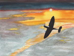 Spitfire Into Sunset