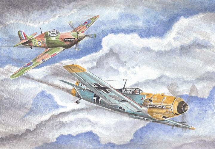 Hurricane & Messerschmitt Dogfight - Papilios Creative