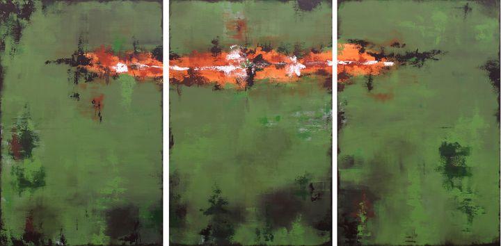 XXL Green Echoes V 183 x 92 cm - Susan Wooler