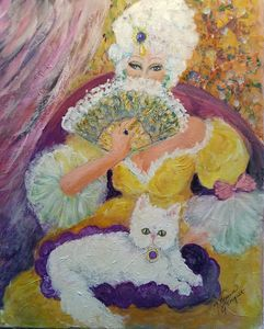 Marie Antoinette with cat..