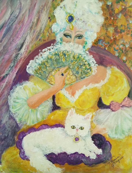 Marie Antoinette and her cat - Le Swan Gallery