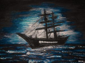 Moonlight with ship - seascape