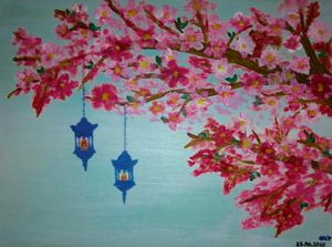 Pink flowers on tree with two lamps