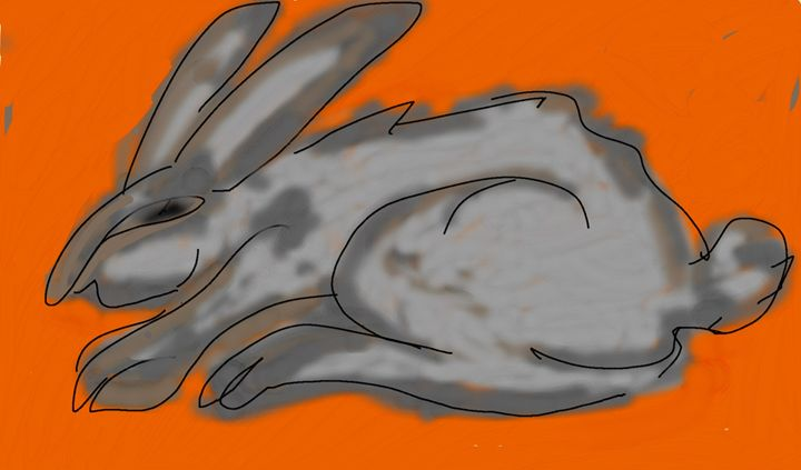 gray rabbit - ART NASTYA