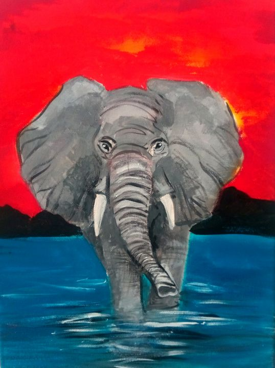Elephant in water - Debbie pinker