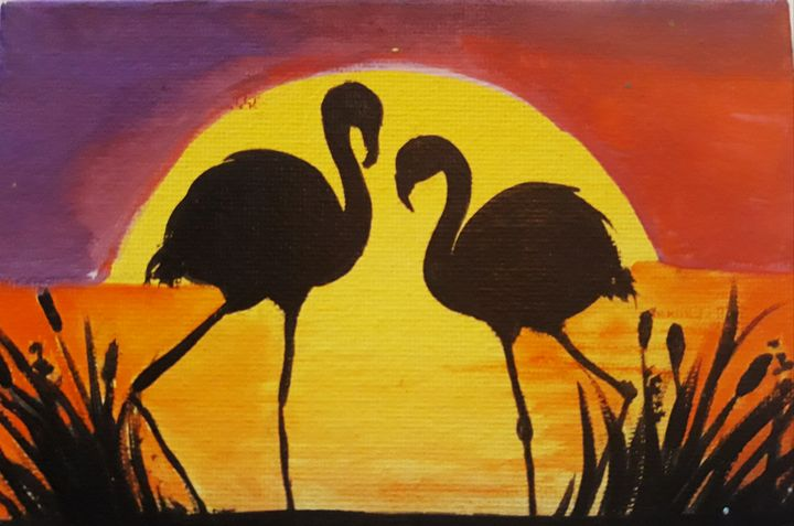 Flamingos in love - Debbie pinker