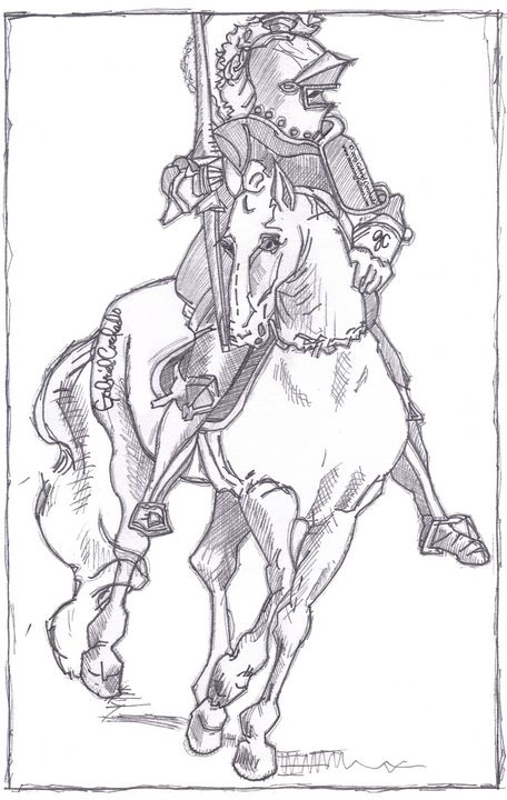German Horse and Rider - Meaningful Lines Art