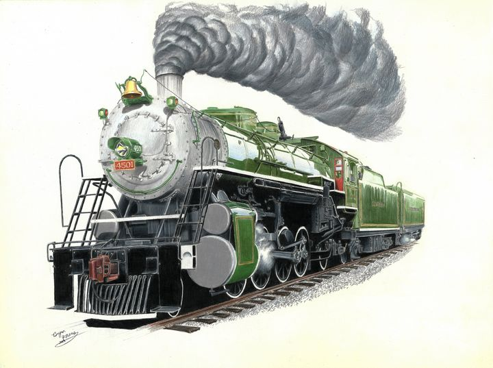 Southern Railway 4501 in green - Art by Bryan