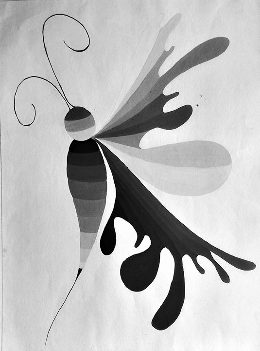 Abstract Butterfly (Monochromatic) - color