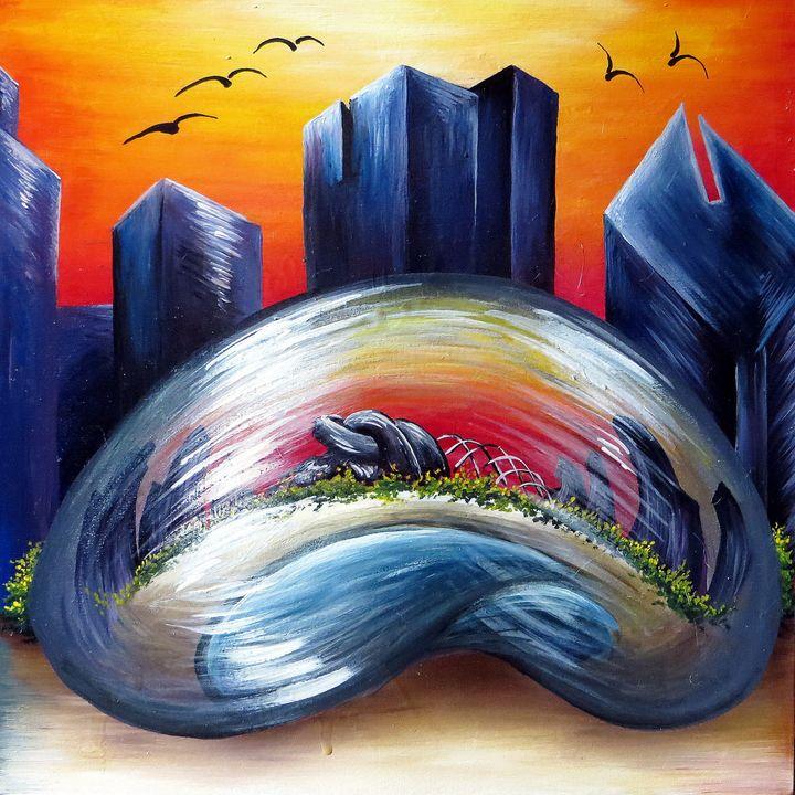 Bean at Sunset - Kristen Ann's Paintings