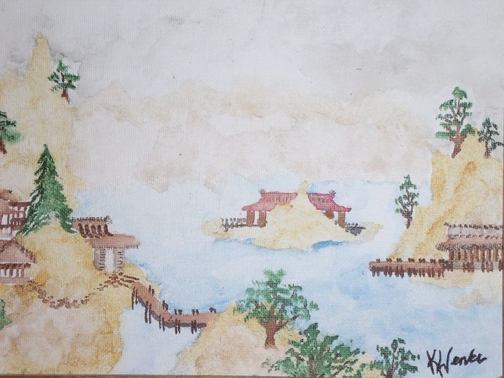 Chinese Village I - Kristen Ann's Paintings