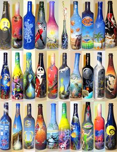 Custom Painted Wine Bottle