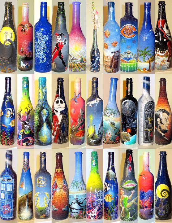 Custom Painted Wine Bottle - Kristen Ann's Paintings