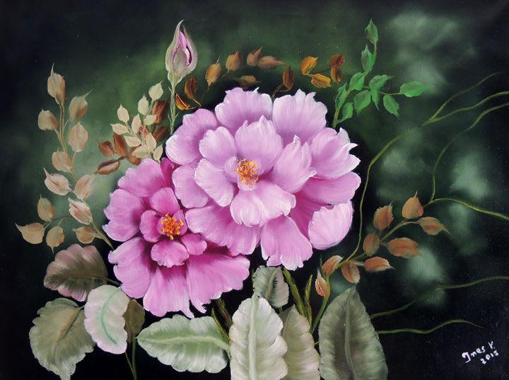 Violet Flowers - Innes Vranes Oil Paintings