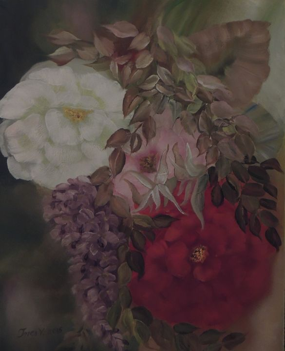 Floating Flowers - Innes Vranes Oil Paintings