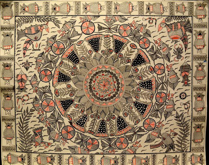 Lotus Rangoli - Madhubani Art