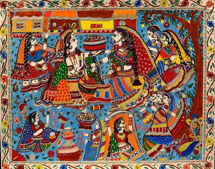 Radha Krishna - Folk Dance - Madhubani Art