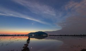 Venus above Phnom Krom Hill