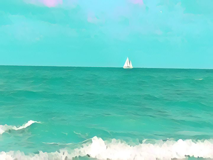 Blue Sailboat - Sunshine's Art Gallery