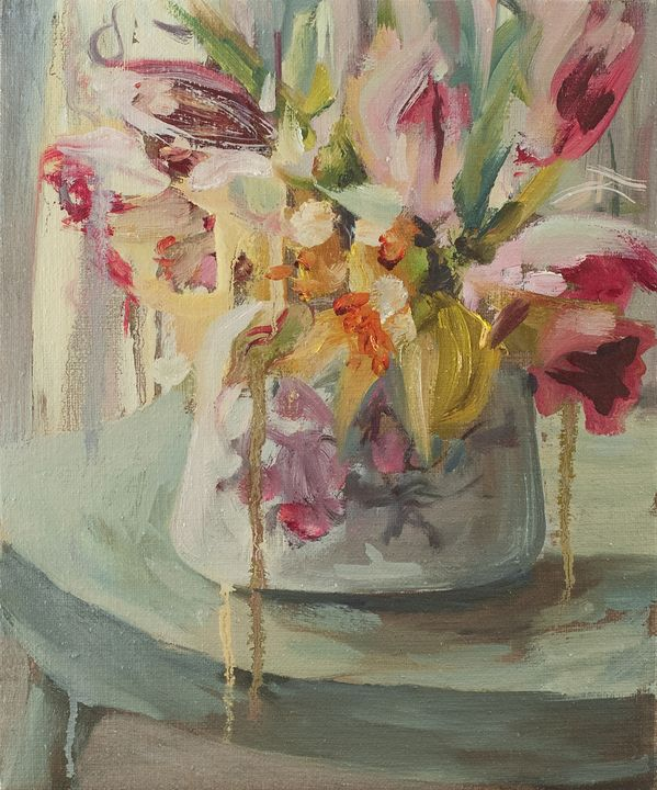 Summer Flowers on Rustic Chair - Julia Stania