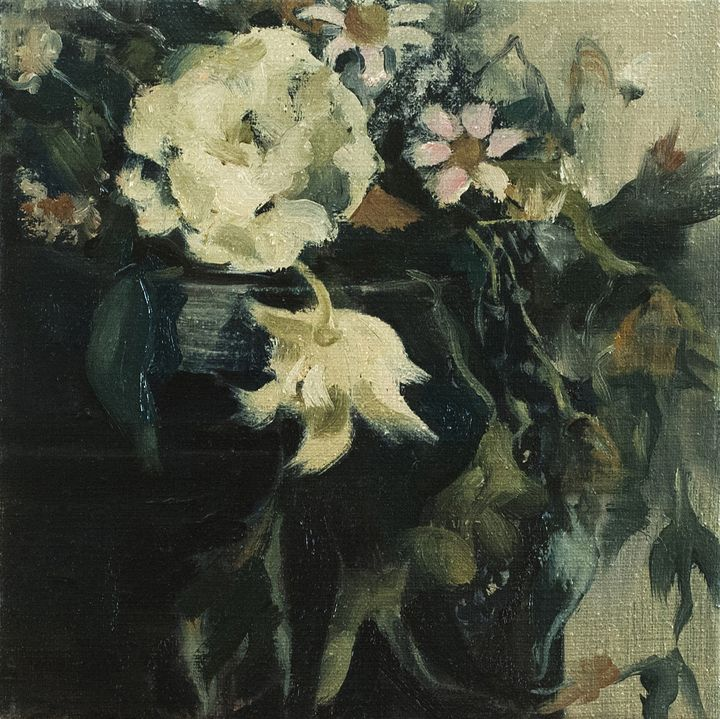 Two White Flowers in a Porcelain Pot - Julia Stania