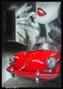 Car Drawing Painting Retro Porsche