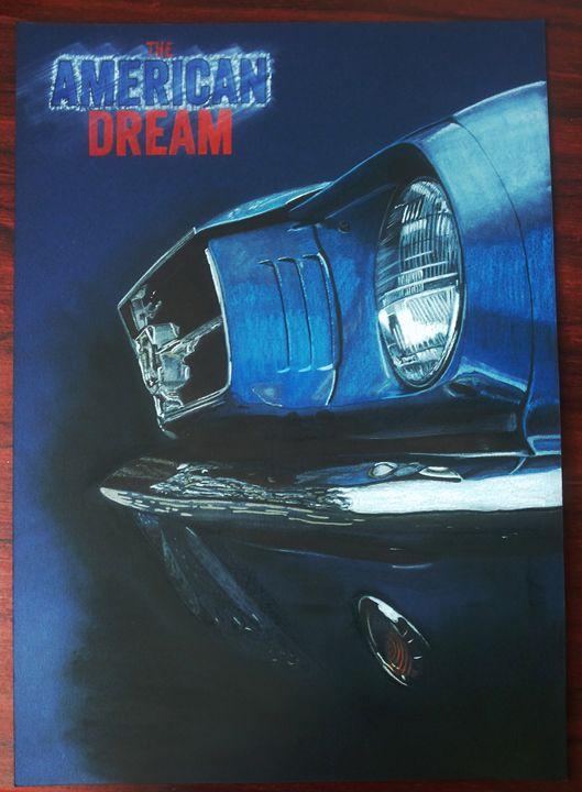 Ford Mustang Car Drawing Painting - AEM Design