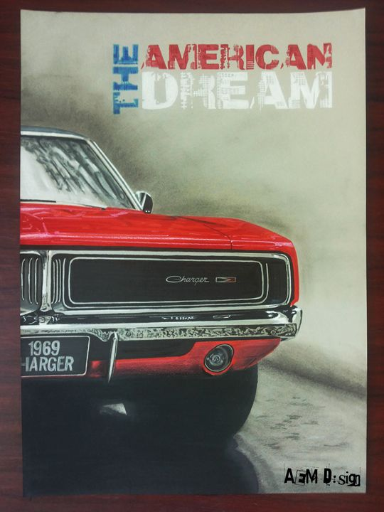 Car drawing Painting Dodge Charger - AEM Design