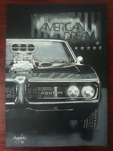 Realistic Drawing Muscle Car Pontiac