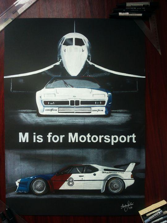 Car Drawing Painting BMW M1 Art - AEM Design