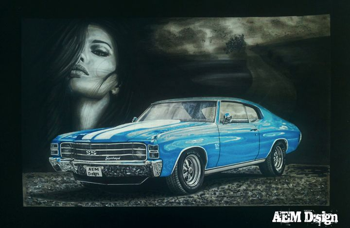 Car Drawing Painting Chevelle SS - AEM Design
