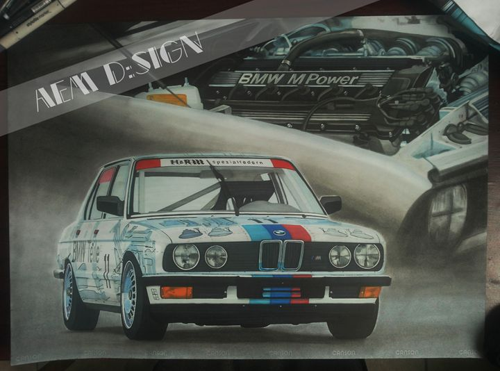 Car drawing painting BMW ///M5 E28 - AEM Design