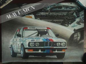 Car drawing painting BMW ///M5 E28 - AEM Design
