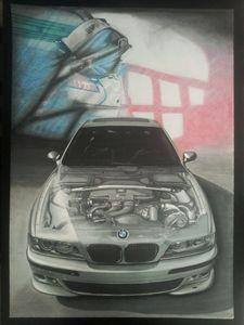 Car Drawing Painting BMW ///M E39 - AEM Design