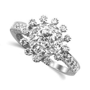 Diamond Flower Ring Size 7 - TimsArtShop