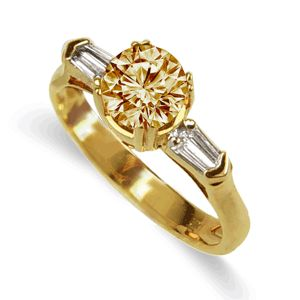 Champagne Diamond Ring 18K Size 7 - TimsArtShop