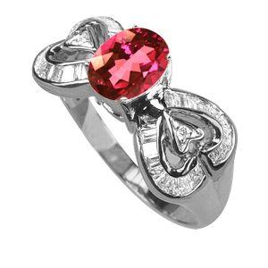 Diamond/Tourmaline Ring 18K White - TimsArtShop