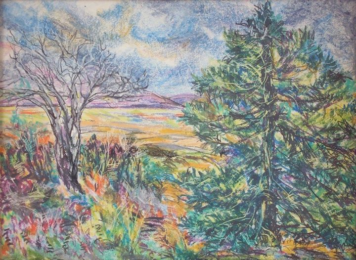 Landscape Two Trees - Evelyn Bell Vodicka