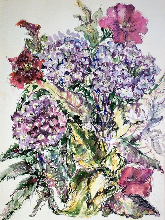 Violet and Red Flowers - Evelyn Bell Vodicka