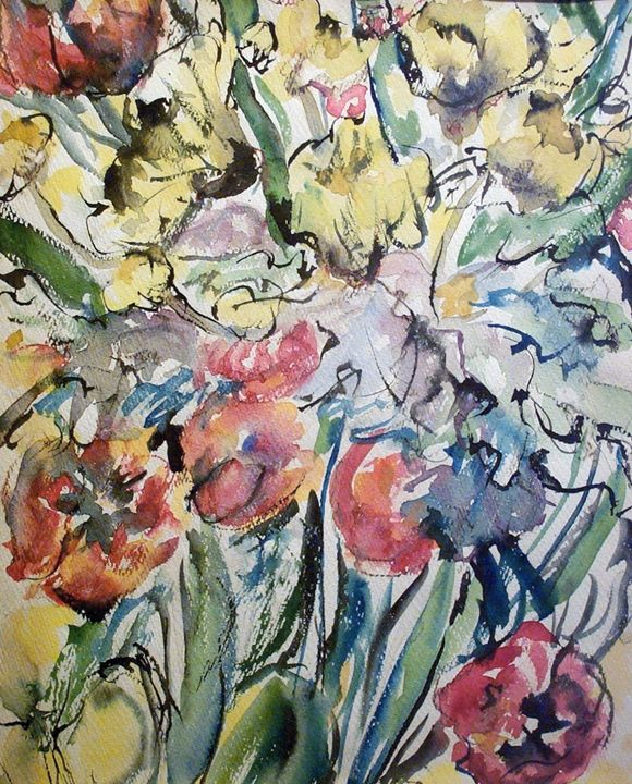 Abstract Roses and Yellow Flowers - Evelyn Bell Vodicka
