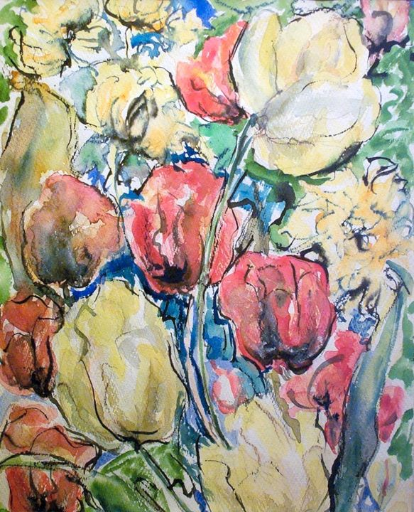 Roses and Yellow Flowers 2 - Evelyn Bell Vodicka