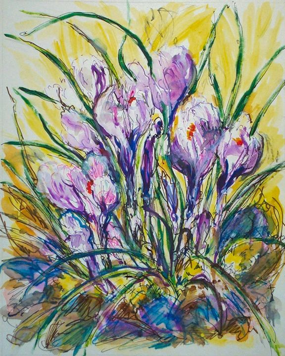 Purple Flowers - Evelyn Bell Vodicka